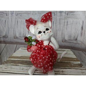 Vtg Annalee Valentine's Day Roses Girl Mouse Doll